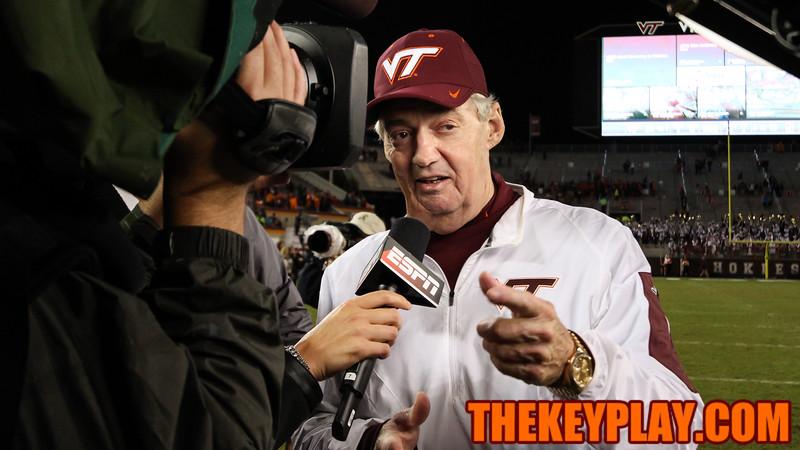 Head Coach Frank Beamer speaks with ESPN after the game. (Mark Umansky/TheKeyPlay.com)