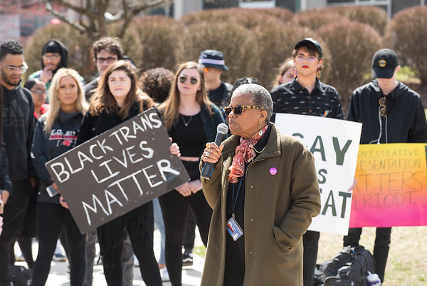 04/11/19 Wesley Bunnell | Staff CCSU students and some faculty gathered to protest the recent vandalism on campus where racist remarks were spray painted on campus property. Professor Evelyn Newman Phillips speaks during the protest.