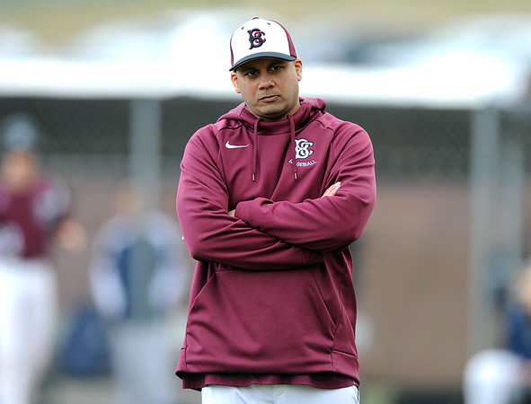 4/12/2019 Mike Orazzi | Staff Bristol Central baseball coach Bunty Ray on Friday against Newington in Bristol.