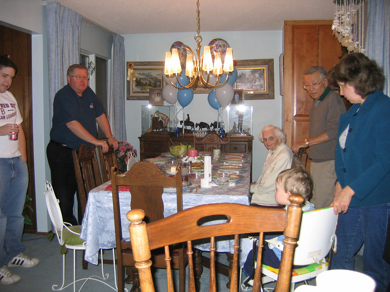 Dinner at Grandma's house. Cousin Kevin, Dad, Aunt Peggy, Nephew David, Uncle Hank and Aunt Val.