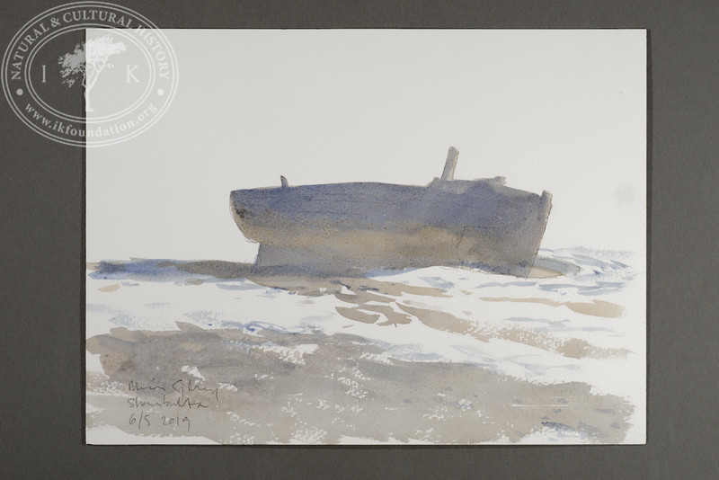 """Abandoned barge at Skansbukta 