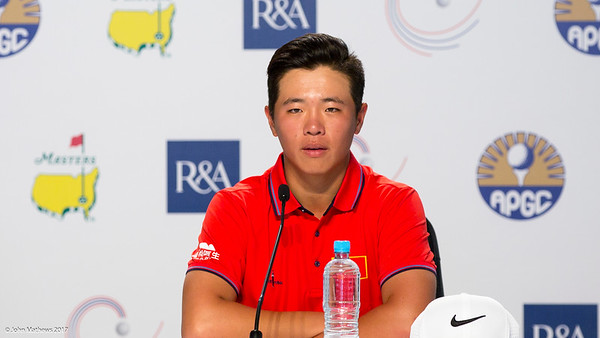 Andy Zhang in a press conference who is currently placed 2nd equal behind the leader after the 3rd day of competition  in the Asia-Pacific Amateur Championship tournament 2017 held at Royal Wellington Golf Club, in Heretaunga, Upper Hutt, New Zealand from 26 - 29 October 2017. Copyright John Mathews 2017.   www.megasportmedia.co.nz