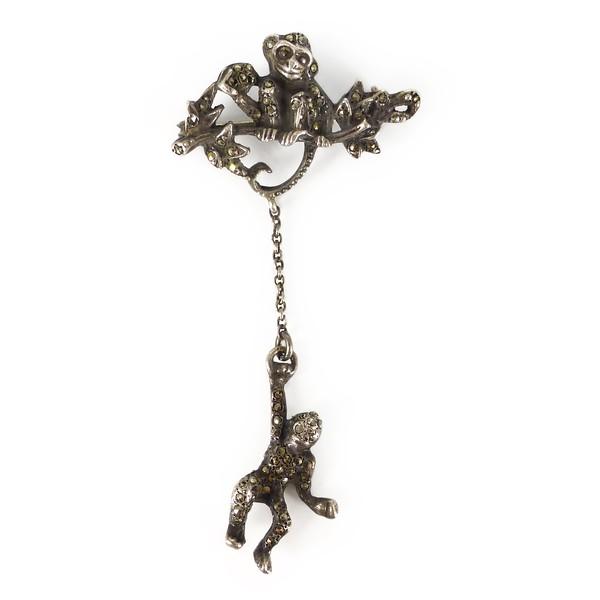 Vintage 1940s Solid Silver Marcasite Monkey Drop Brooch