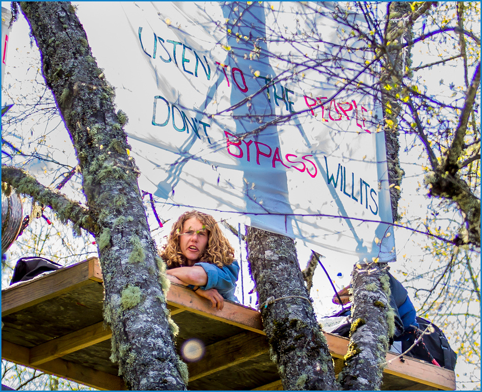 . The seventh tree sitter nicknamed Crow, sports a banner. Photo by Steve Eberhard.
