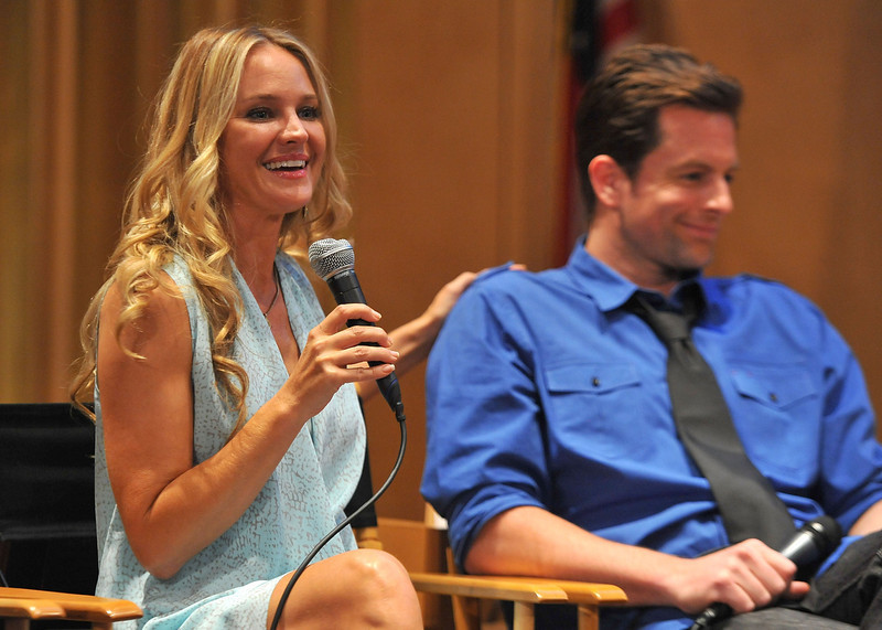 ". Actors Sharon Case and Michael Muhney participate in the 40 years of ""The Young and The Restless\"" celebration and panel discussion presented by SAG-AFTRA at SAG-AFTRA on June 4, 2013 in Los Angeles, California.  (Photo by Angela Weiss/Getty Images)"
