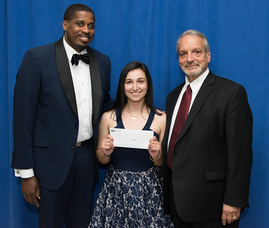 05/24/18 Wesley Bunnell | Staff New Britain High School held their Senior Scholarship Night at the high school on Thursday night. Sara Manuele received the Alton Brooks Scholarship from James Jones, L, and Paul Salina, R. Manuele will study Psychological Science at CCSU.