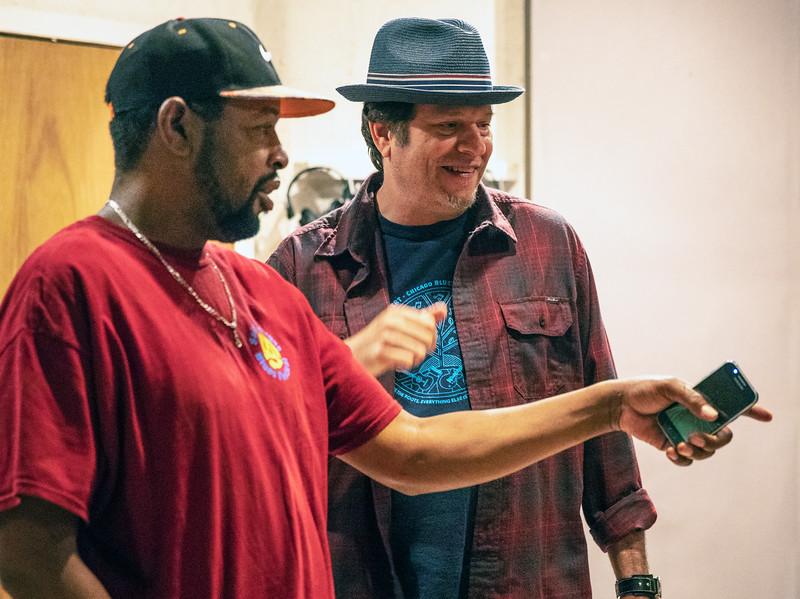 Steve Bell (l) with Dave Specter | Delmark Rehearsal for Blues Fest