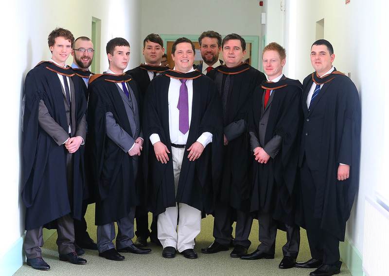 Waterford Institute Of Technology Conferring. Pictured at WIT Waterford Institute Of Technology Conferring are Cillian O'Keeffe, Waterford, Ian Mills, Wexford, Alan Fletcher, Tipperary, Mark Ponisi, Kildare, Michael Kugel, Dungarvan, Rob O'Connor, Course Leader, Kevin Nolan, Dungarvan, Evan Shortiss, Carrick on Suir, Garry Fitzgerald, Waterford who graduated Bachelor of Science (Hons) in Entertainment Systems. Picture: Patrick Browne