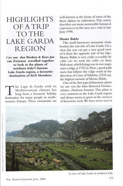Highlights of a trip to the Lake Garda region, Ger van den Beuken & Kees Jan van Zwienen, June 2006