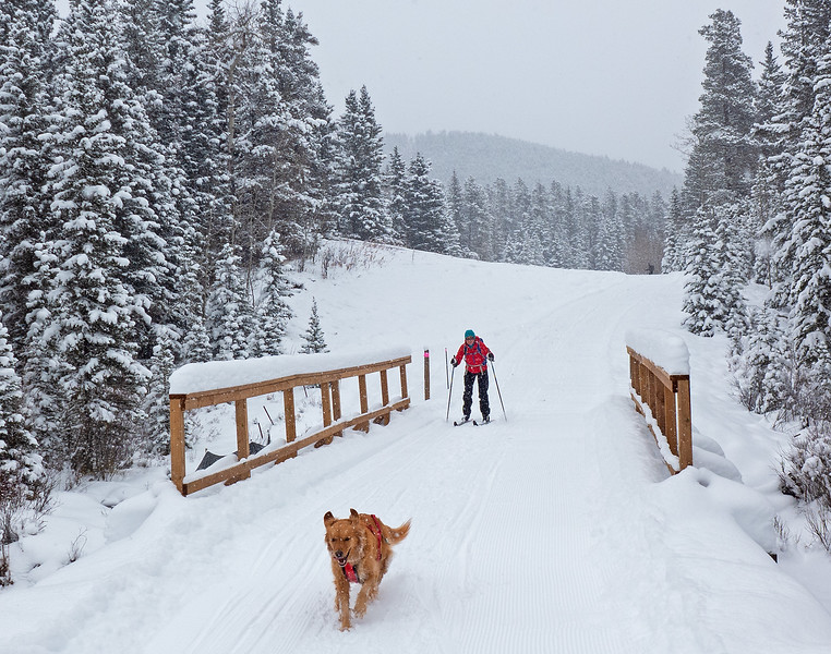Piper and Jo enjoying good ski conditions and the new Moose Loop bridge, on a snowy October 23.