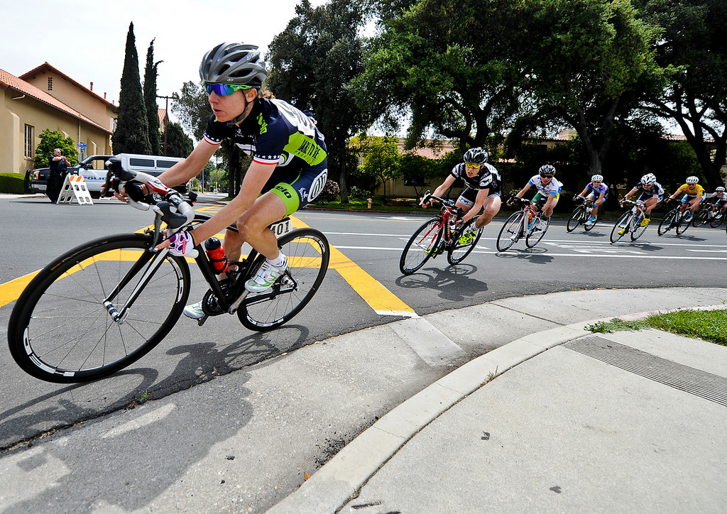 . Pro cyclists race in the 68.1 mile-long Beaver Medical Group Sunset Road Race for Women during the Redlands Bicycle Classic on Sunday, April 7, 2013. (Rachel Luna / Staff Photographer)