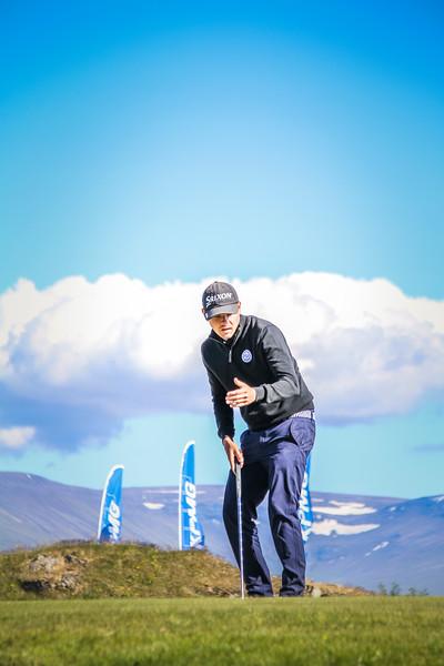 Ólafur Björn Loftsson, GKG, á 9. flöt á Garðavelli.  Mynd/seth@golf.is