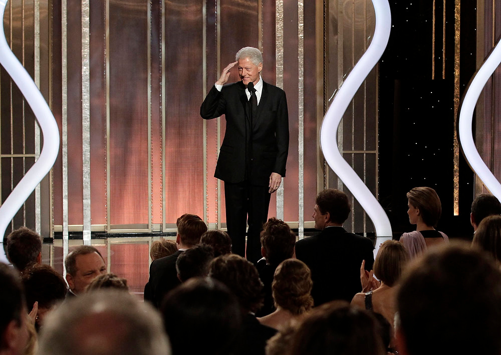 ". This image released by NBC shows former President Bill Clinton introducing best picture nominee ""Lincoln\"" during the 70th Annual Golden Globe Awards at the Beverly Hilton Hotel on Jan. 13, 2013, in Beverly Hills, Calif. (AP Photo/NBC, Paul Drinkwater)"