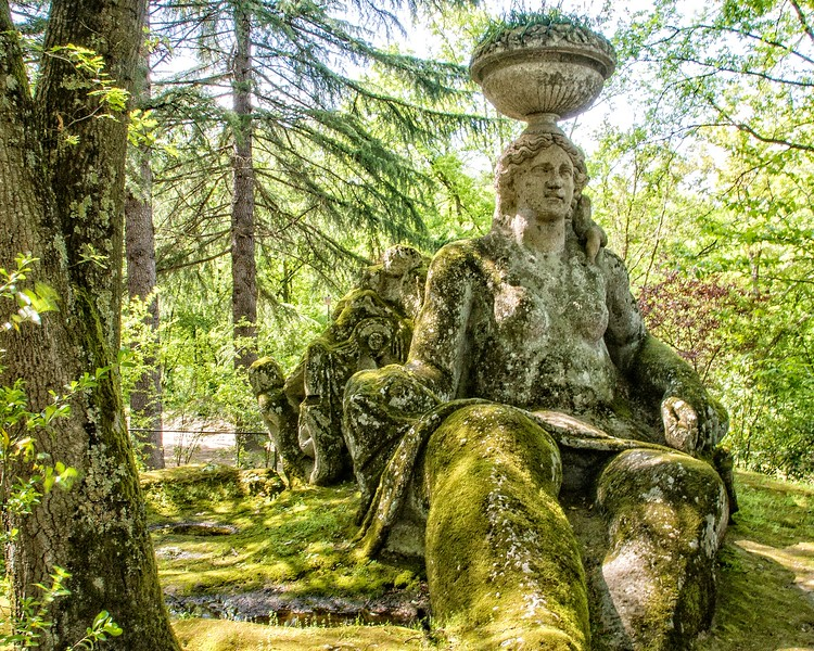 green covered statue