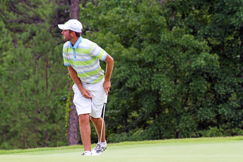 Cory McElyea of Santa Cruz, CA reacts after one of his putts burned the edge during the match play portion of the 111th Western Amateur at The Alotian Club in Roland, AR. (WGA Photo/Ian Yelton)