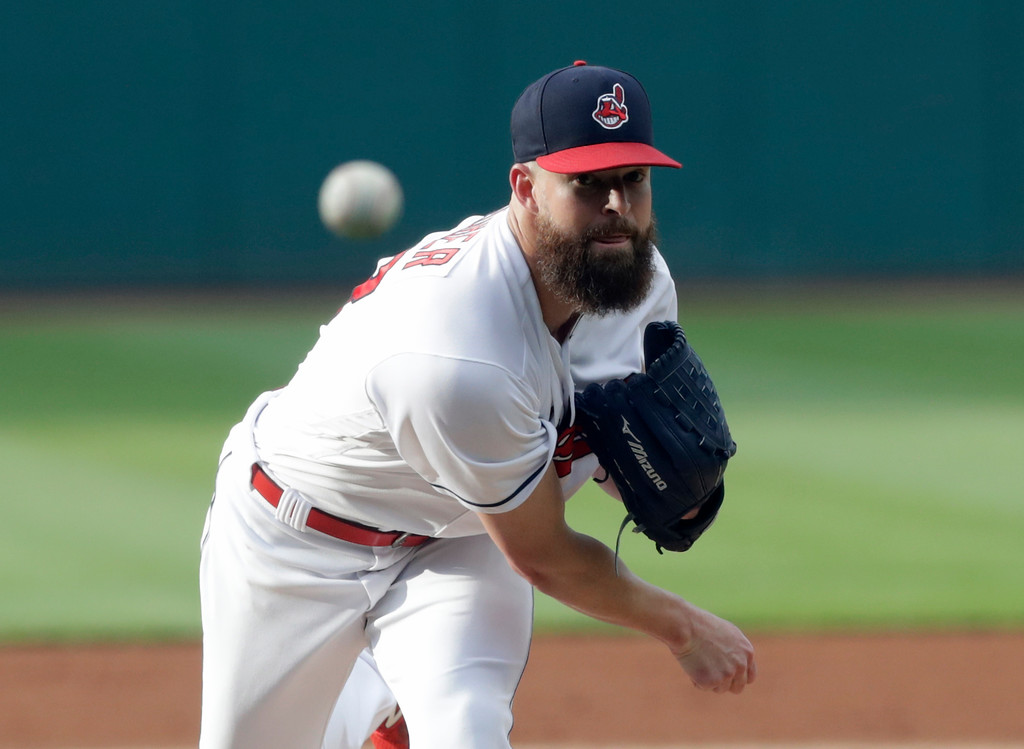 . Cleveland Indians starting pitcher Corey Kluber delivers in the first inning of the team\'s baseball game against the New York Yankees, Thursday, July 12, 2018, in Cleveland. (AP Photo/Tony Dejak)