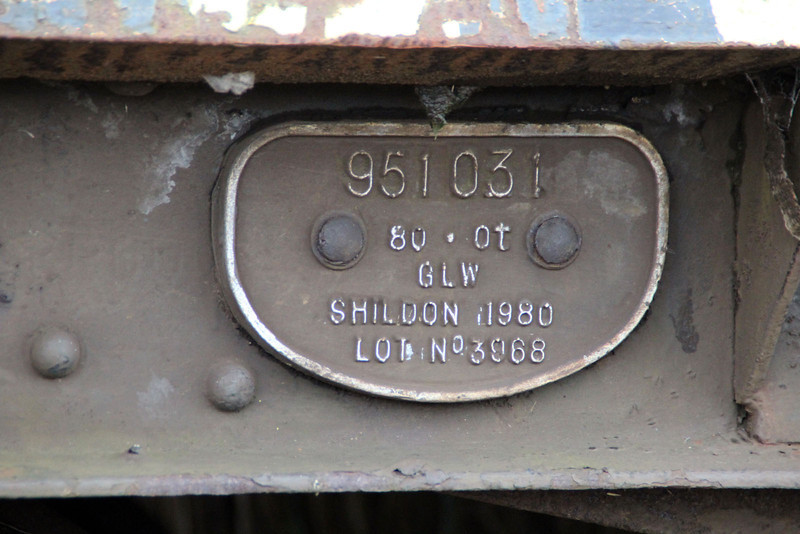 iu No3 ex BDA 951031 Bogie Flat works plate at Queensborough Invicta Scrap Merchants 12/01/13.