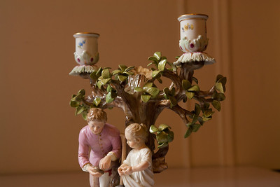 Meissen porcelain candlestick (kids by the tree)