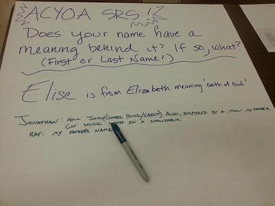2015 ACYOA Seniors New England Retreat, February 28, 2015