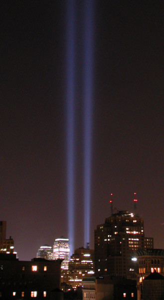Tribute in light, one year later.