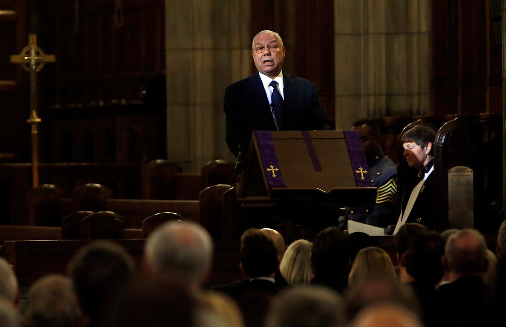 . Former U.S. Army Four Star General and former U.S. Secretary of State Colin Powell speaks at the funeral for the late U.S. Army Four Star General H. Norman Schwarzkopf at the Cadet Chapel at the United States Military Academy at West Point, New York, February 28, 2013. REUTERS/Mike Segar