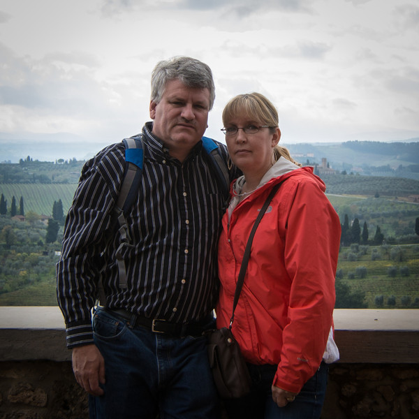 Ron, Tammy, and Tuscan landscape