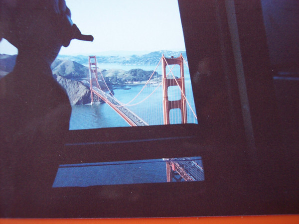Hoovering over the san francisco golden gate Bridge, 2000 with KRON traffic helicopter ride