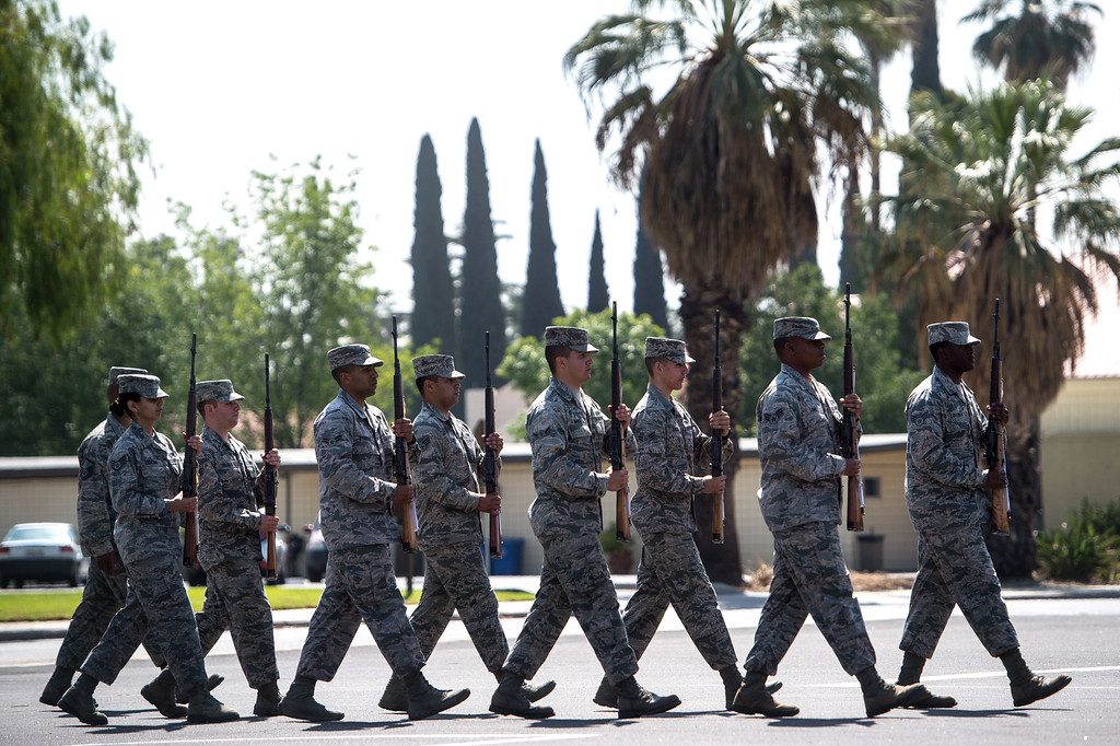 . Members of the Blue Eagles Honor Guard marching at port arms during practice at March Air Reserve Base in Riverside, Calif. on Tuesday, May 12, 2015. (Photo by Watchara Phomicinda/ Los Angeles Daily News)