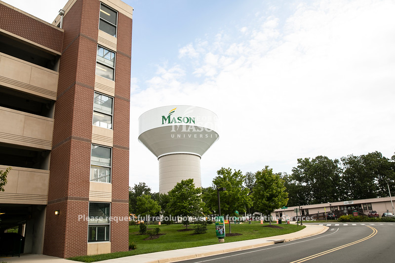 Water tower on Fairfax Campus. Photo by Ron Aira/Creative Services/George Mason University