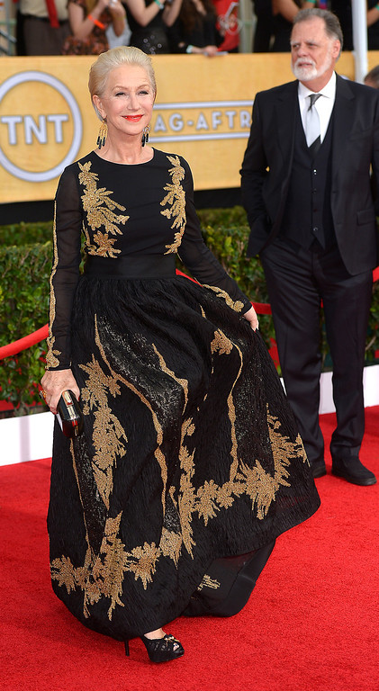 . Helen Mirren arrives at the 20th Annual Screen Actors Guild Awards  at the Shrine Auditorium in Los Angeles, California on Saturday January 18, 2014 (Photo by Michael Owen Baker / Los Angeles Daily News)