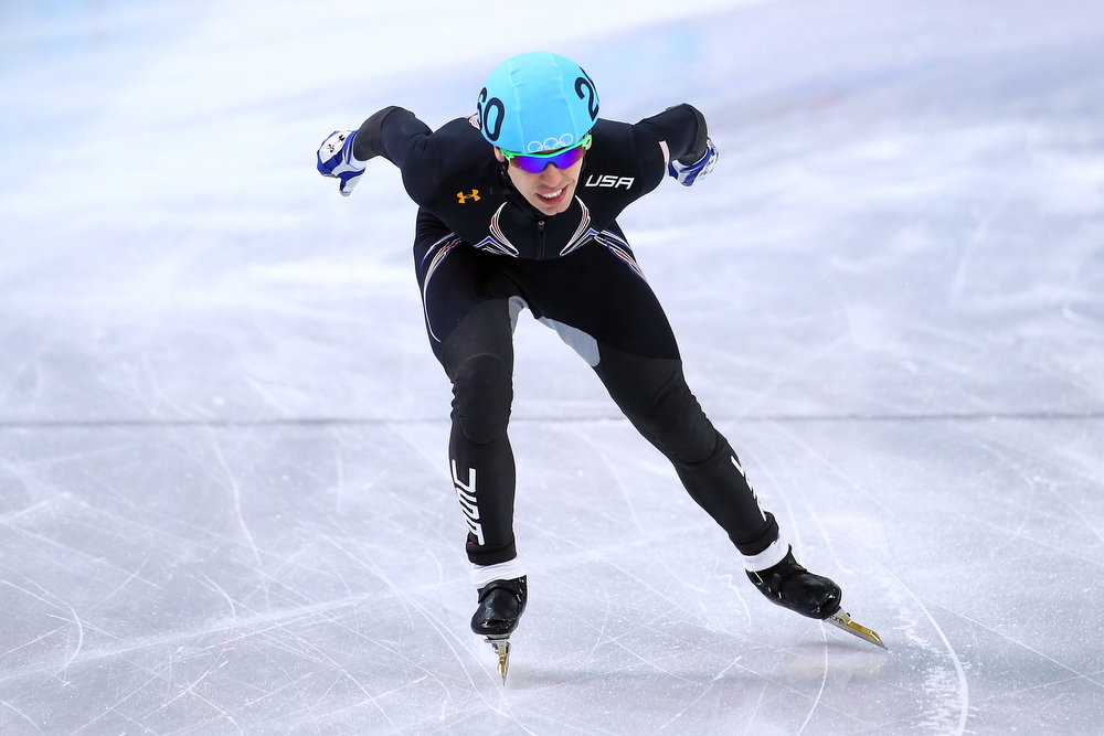 . Jordan Malone of the United States competes in the Short Track Men\'s 500m Heat at Iceberg Skating Palace on day 11 of the 2014 Sochi Winter Olympics on February 18, 2014 in Sochi, Russia.  (Photo by Streeter Lecka/Getty Images)