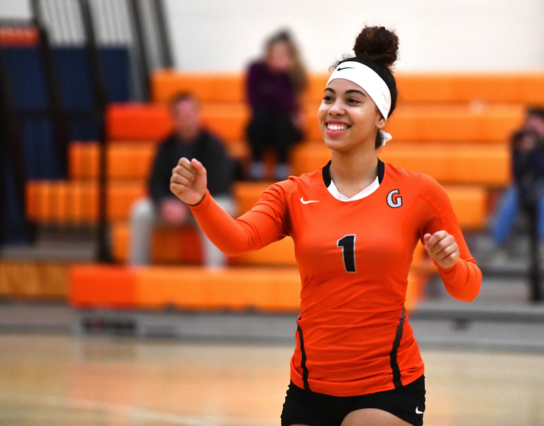 10/18/2019 Mike Orazzi | Staff Goodwin Tech's Aiyana Montes (1) during Friday night's girls volleyball match with Terryville in Terryville.