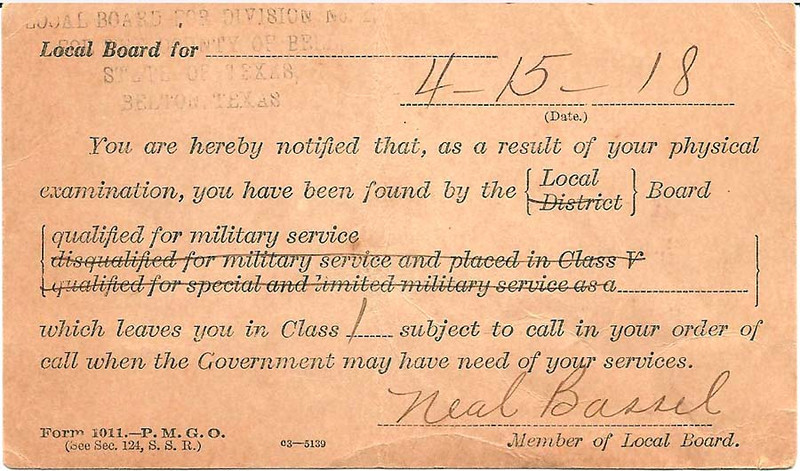 1918 - 4-15 Carl Duncan's War Dept. Health Notice 02.jpg