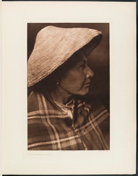 The North American Indian, vol. 9 suppl., pl. 295. Quinault female profile
