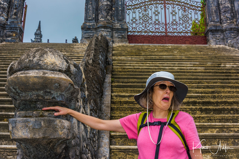 Preparing to enter the Khai Dinh Tomb, built in the early 20th century for one of the last emperors of Vietnam.