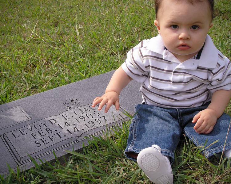 Jack visits Papa Jack's Grave