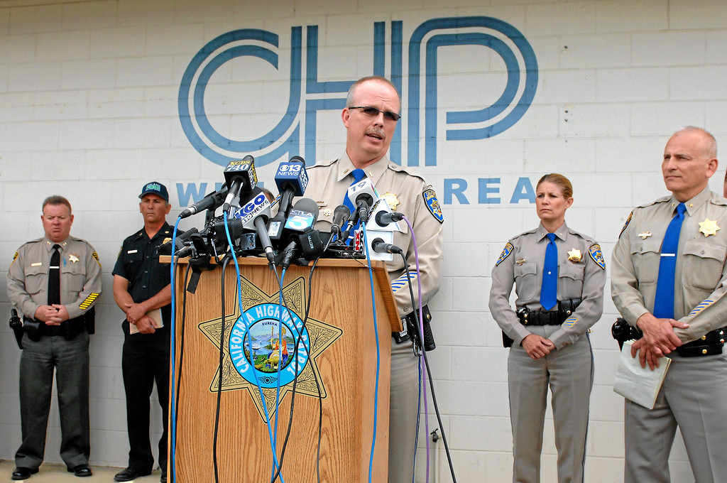 . Willows Area CHP Lt. Commander Bruce Carpenter speaks about responding to Thursday\'s crash with the bus and the FedEx truck, Friday, April 11, 2014, at a press conference in Willows. (Photo by Michael Owen Baker/L.A. Daily News)