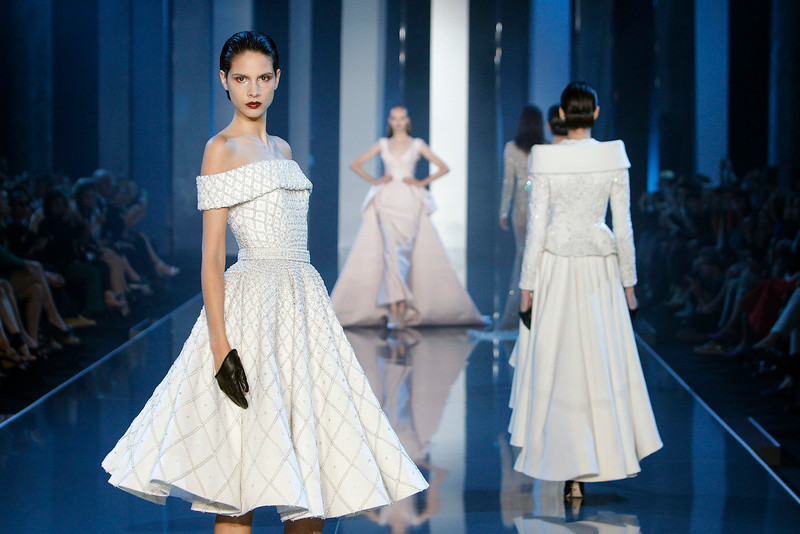 . A model wears a creation for Ralph & Russo\'s fall-winter 2014-2015 Haute Couture fashion collection presented in Paris, France, Thursday, July 10, 2014. (AP Photo/Thibault Camus)