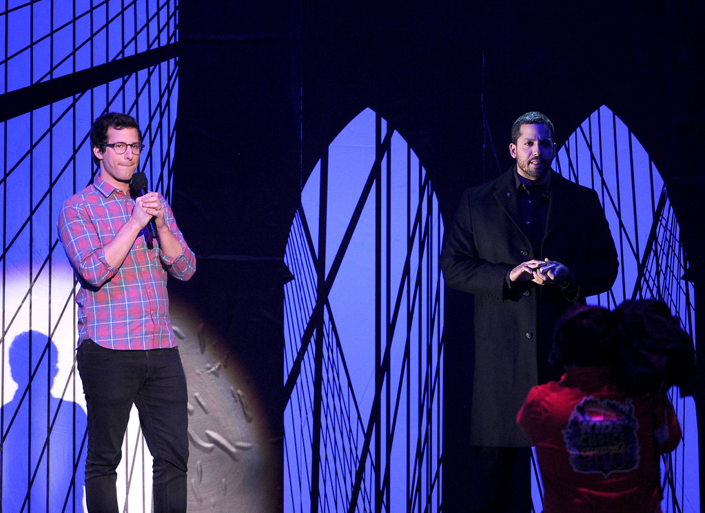 . Actor Andy Samberg (L) and magician David Blaine speak onstage during Nickelodeon\'s 27th Annual Kids\' Choice Awards held at USC Galen Center on March 29, 2014 in Los Angeles, California.  (Photo by Kevin Winter/Getty Images)