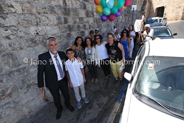 ISRAEL, Jerusalem, Old City, Jewish Quarter. Bar Mitzvah celebrations near Zion Gate (9.2014)