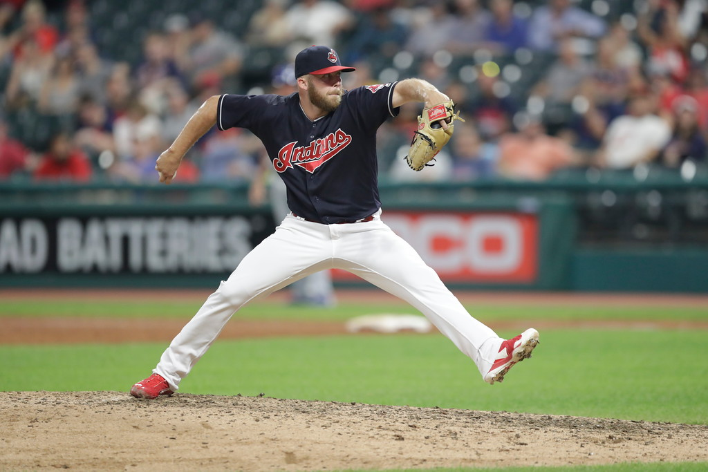 . Cleveland Indians relief pitcher Cody Allen delivers in the ninth inning of a baseball game against the Kansas City Royals, Tuesday, Sept. 4, 2018, in Cleveland. (AP Photo/Tony Dejak)