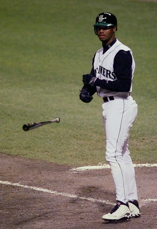 . Seattle Mariners\' Ken Griffey tosses his bat after striking out in the third against Philadelphia Phillies\' Curt Schilling the 68th All-Star Game Tuesday, July 8, 1997 in Cleveland. (AP Photo/Al Behrman)