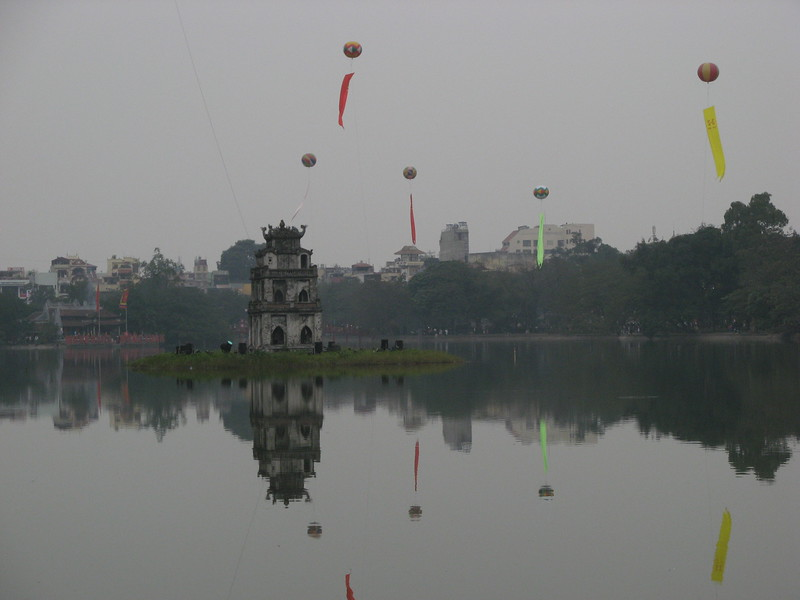 Hoan Kiem Lake with festive balloons. It was nice jogging around here, but a bit cool.