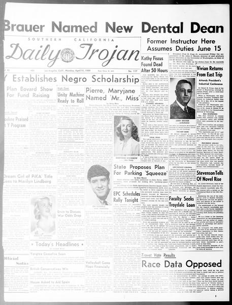 Daily Trojan, Vol. 40, No. 117, April 11, 1949
