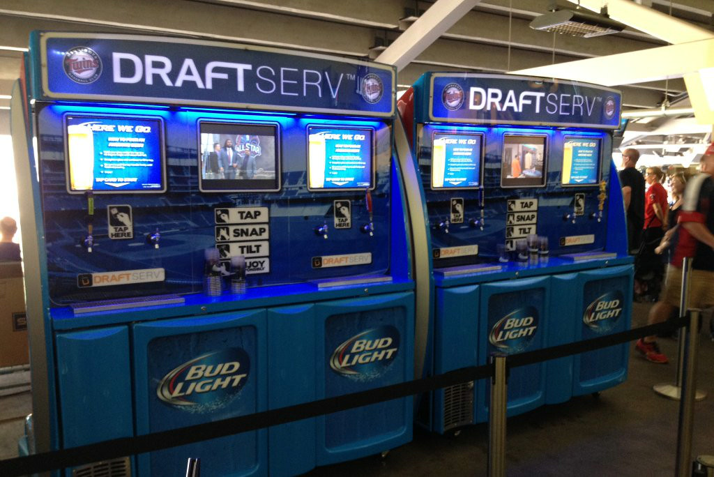 ". <p><b> Folks attending Twins games at Target Field can now conveniently purchase this for about 40 cents per ounce � </b> </p><p> A. Self-serve beer </p><p> B. Fountain drinks </p><p> C. Any player on the Twins roster </p><p><b><a href=""http://www.twincities.com/twins/ci_26103910/twins-debut-self-serve-beer-machines\"" target=\""_blank\"">LINK</a></b> </p><p>   (Photo courtesy of Delaware North Sportservice)</p>"