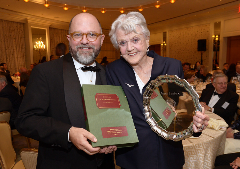 NEHGS President and CEO Brenton Simons presenting Dame Angela Lansbury with her genealogy and Lifetime Achievement Award from NEHGS.