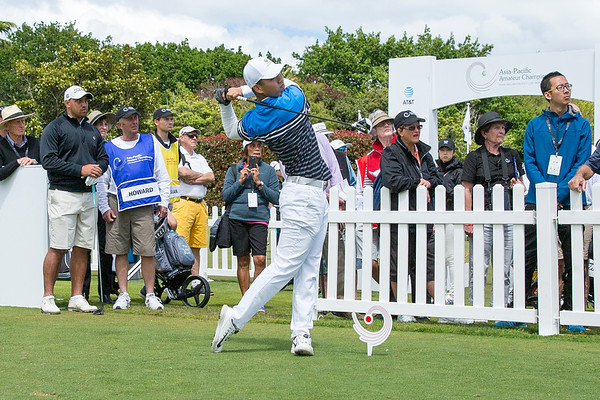 Guan Tianlang from China hitting off the 1st tee on the2nd day of competition  in the Asia-Pacific Amateur Championship tournament 2017 held at Royal Wellington Golf Club, in Heretaunga, Upper Hutt, New Zealand from 26 - 29 October 2017. Copyright John Mathews 2017.   www.megasportmedia.co.nz