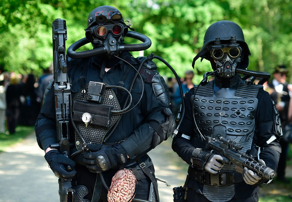 ". Dressed up people attend a so-called ""Victorian Picnic\"" during the Wave-Gotik-Treffen (WGT) festival in Leipzig, eastern Germany, on May 13, 2016.   / AFP PHOTO / TOBIAS  SCHWARZ/AFP/Getty Images"