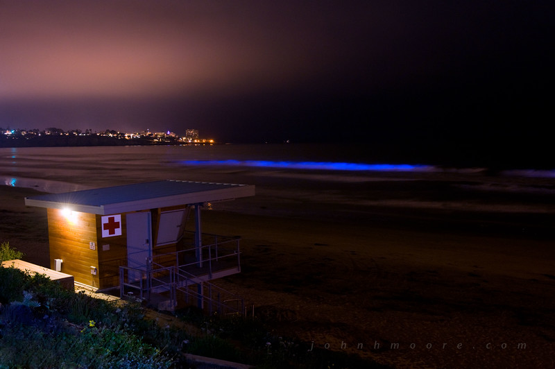 "During a heavy ""red tide"" off of San Diego, California, the bioluminescent dinoflagellate Lingulodinium polyedrum glows neon blue in response to movement.  Here a breaking wave glows blue in front of the lifeguard tower at Scripps Institution of Oceanography."