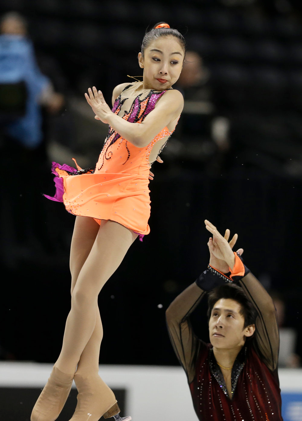. Sui Wenjing and Han Cong, of China, perform during the pairs short program at the World Figure Skating Championships Wednesday, March 13, 2013, in London, Ontario. (AP Photo/Darron Cummings)